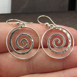 Sterling Silver Unique Swirling Circle Earrings
